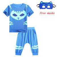 2018High Quality PJ Hero Of Children Cosplay Costumes Cotton Knitted Jacket Pajamas For Kids Mask Suits