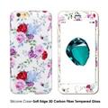 Flor de silicone tpu case para iphone 6 6 s plus capa + 3D De Fibra De Carbono Full Body Protetor de Tela De Vidro Temperado Cobertura Funda