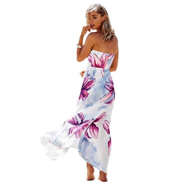 f55db47d2a83 2019 Summer Sexy Women Strapless Maxi Dress Floral Print Dress Color Block  Backless Split Slim Long