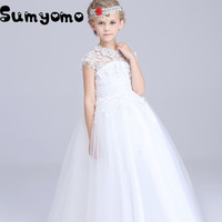 2017 White Bridesmaid Wedding Dress For Girls Party Dress Formal Christmas Princess Ball Gown Kids Vestido