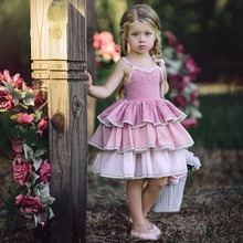Princess Girls Dresses 2019 New Summer Boho Lace Sleeveless Dress Birthday Party Tutu Children Clothes 12M-5T