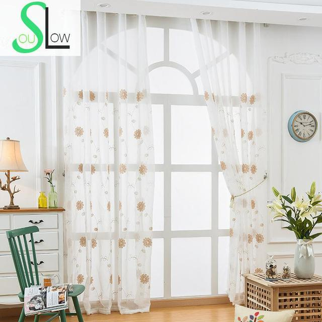 Slow Soul Coffee Floral Curtain French Window Embroidered Pastoral Tulle  Curtains For Living Room 3d Chinese