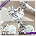 2016 Winter NEW S925 Silver Gold-plated Snowflake Heart With Clear CZ Dangle Charm Bead Fit European Bracelets & Necklaces DIY