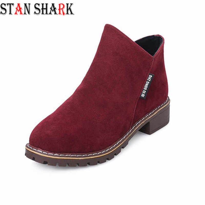 New Female Fashion Slip On Low Heel Sewing Flock Platform Ankle Boots Women's Casual Comfortable Style Black Shoes Size 35-40