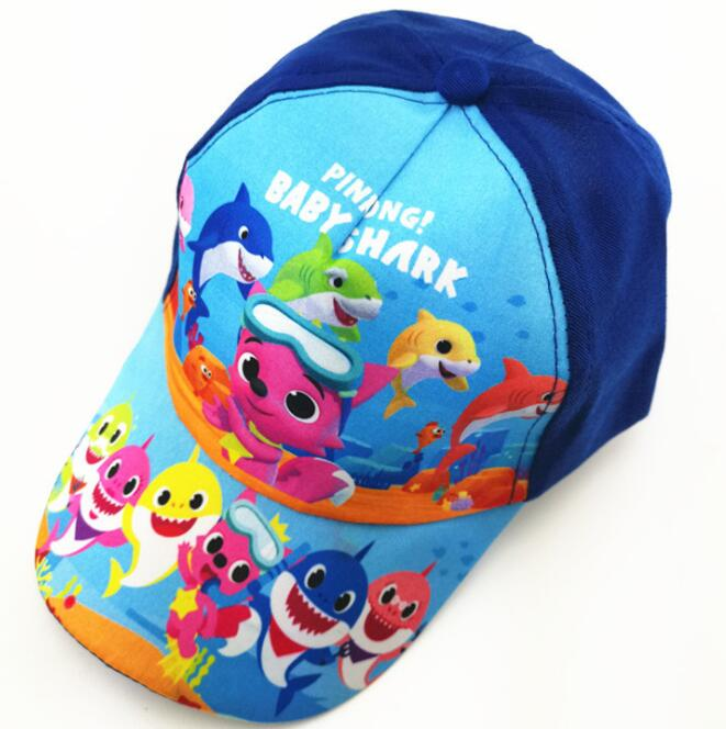 New 1pcs popular cartoon Baby sharks cute kids boys lovely Fashion Sun Hat Casual Cosplay   Baseball     Cap   children party gifts