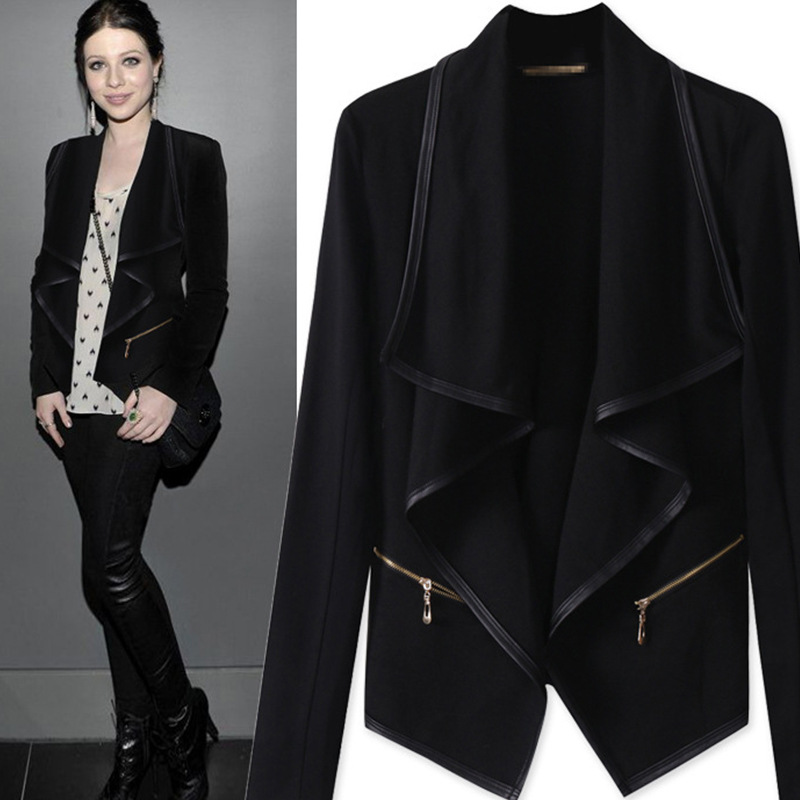 2015 Autumn Fashion Black Blazer Women Plus Size Casual -6176