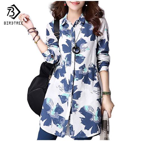 Casual Long Sleeve Shirt Women Autumn New Fashion Floral Print Cotton Linen Blouses Plus Size Women Top With Pockets T64805 ...