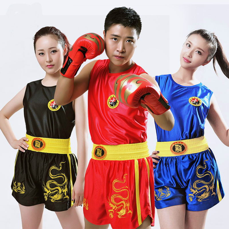 Dragon 2XS-4XL Kids Children/Women/Mens Boxing Trunks+Tank Tops Sanda/Muay Thai/Boxeo/MMA Shorts Uniforms Boys Girls Outfits