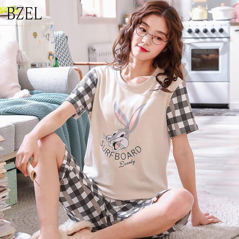 fc254cc08 Conjunto de pijamas de manga corta de dibujos animados delgados de verano  de BZEL para mujer ropa de ...