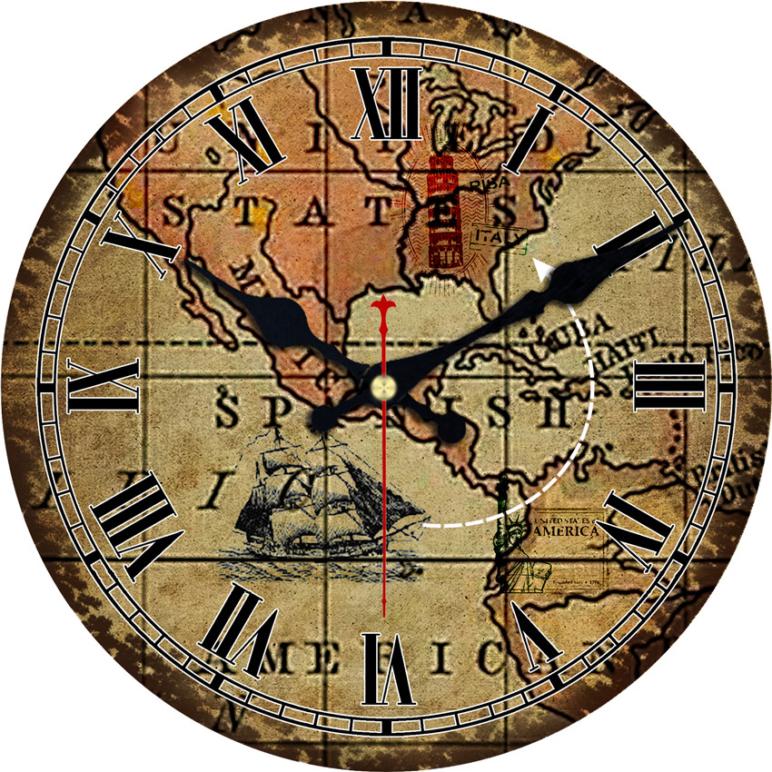 Buy World Map Clock. World Map Large Decorative Round Wall Clock Living Room Decor Saat  Fashion Silent Vintage Watch For New Year Cheap in Clocks from Home