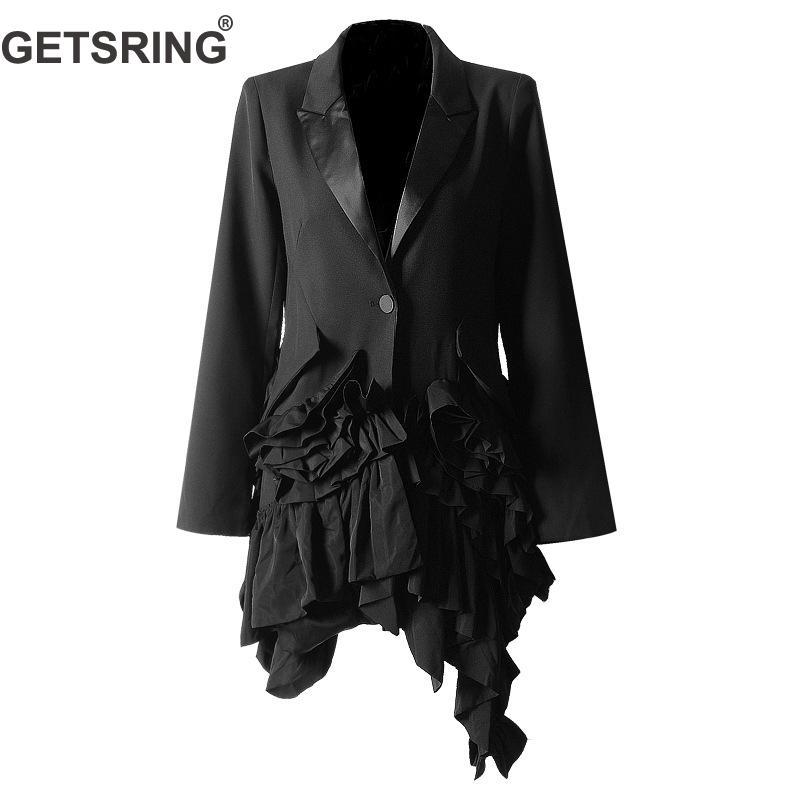 Getsring Croisé Black Ruches Printemps Manches Femmes Longue 2019 Unique Longues Vestes Irrégulière Veste Long Blazer rqarzTw4C