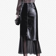 Осенне-зимняя женская юбка, модная, высокая талия, сексуальная, из искусственной кожи, Лоскутная, сетчатая юбка размера плюс 4XL