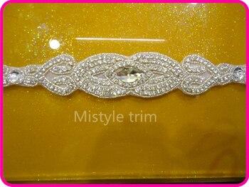 Free shipping Clear Silver Rhinestone Pearl Wedding Bridal Dress Diamond Applique Trim = DIY!