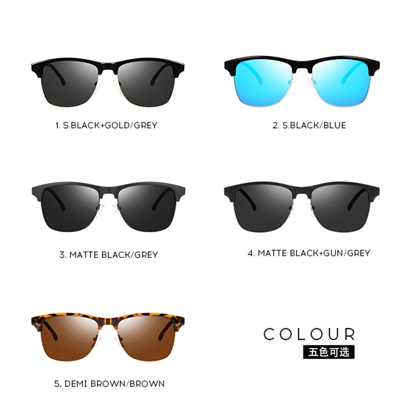 Retro Polarized Sunglasses Men 2019 Plastic Driving Sun Glasses for Men Shades Semi rimless Male Eyewear Lunette De Soleil in Men 39 s Sunglasses from Apparel Accessories