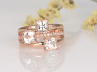 MYRAY Natural 3 Stone 5mm Cushion Cut Pink Morganite Stone Diamond Antique Vintage Engagement Ring 14k