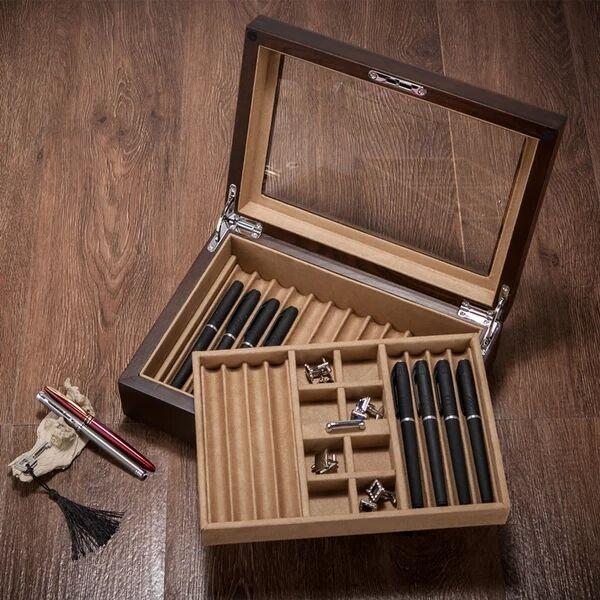 Bois massif signature stylo boîte collier bracelet boutons de manchette bijoux boîte de rangement bureau table organisateur pour la maison décorative MSSH014 - 2