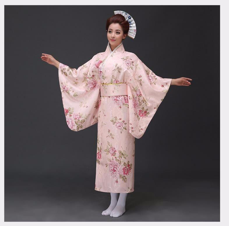 Vintage japonais Sain Yukata avec Obi Kimono traditionnel Haori nouveauté fête robe de bal Animation Costume Floral taille unique