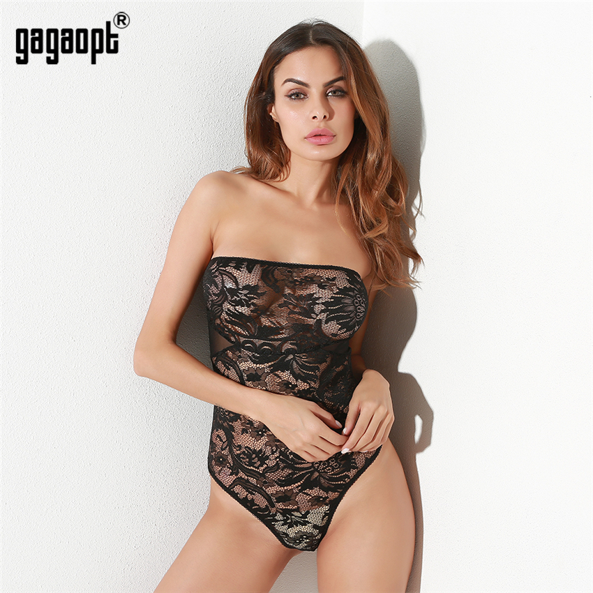 3ee56c9199d5 Gagaopt Lace Bodysuit Women Off Shoulder Hollow Out Sexy Bodysuit ...