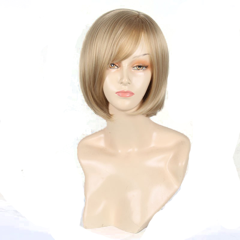 Synthetic Wig Straight Bob Hair Cut With Bangs Heat Resistant Side Part Blonde Women's Capless Natural Wigs Short Womens Hair