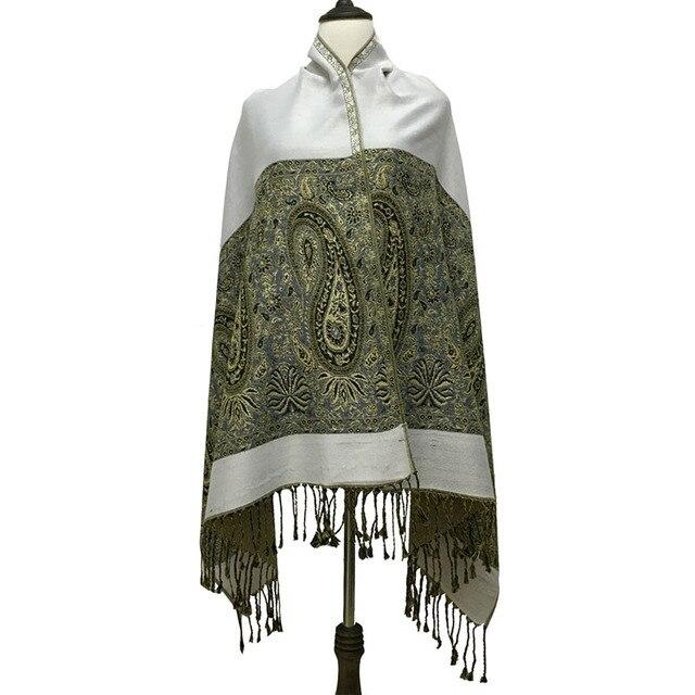 Invierno bufanda de seda de Oro Grande de anacardo borla étnicos jacquard bufandas de verano oficina con aire acondicionado chal moda de la India