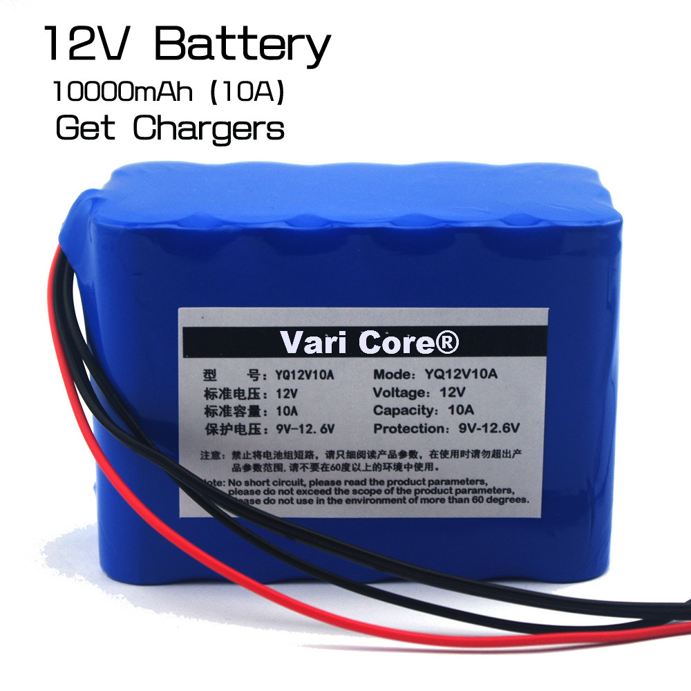 New Protection Large capacity 12 V 10ah 18650 lithium Rechargeable battery 12v 10000 mAh + 12.6 v 3A battery Charger 2016 promotion new standard battery cube 3 7v lithium battery electric plate common flat capacity 5067100