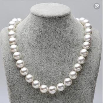 top 11-12 mm Round Genuine South Sea White Pearl Necklace 18