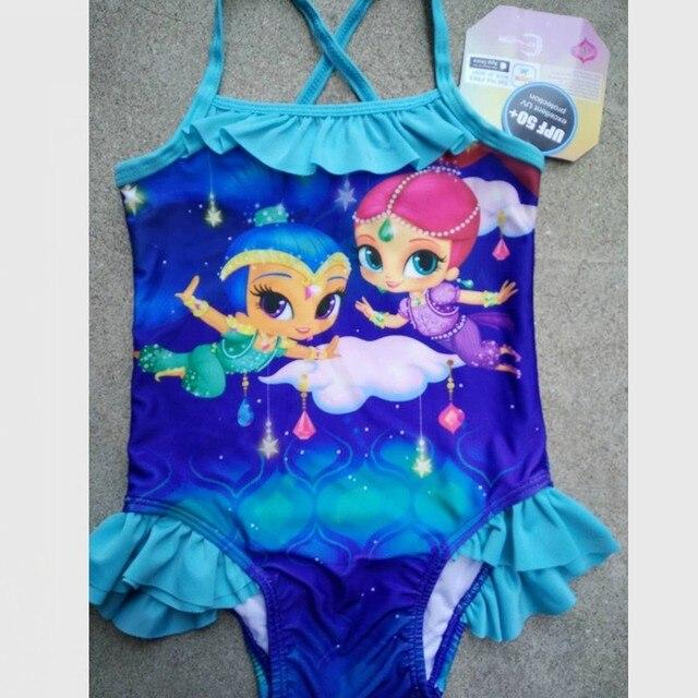 c62148ad46 0226 Retail Girls Kids Children Shimmer shine Blue Swimsuit One Piece  Swimwear Bather Sunbath Bikini swimming costume