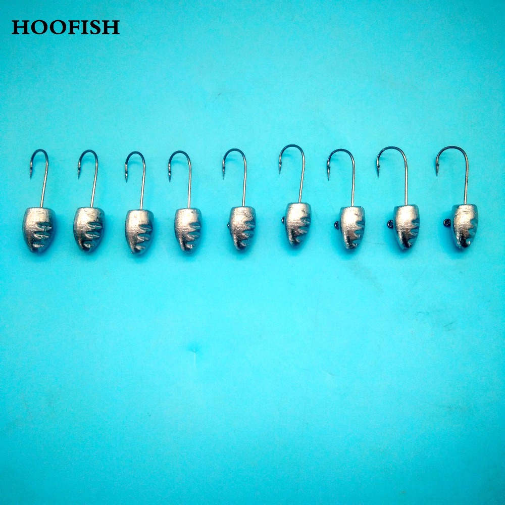 HOOFISH 10PCS/lot Jig Head Hook Fishing Hooks 3g/5g/7g/10g Lead Head Hook Jig Bait Fishing Hooks For Soft Lure Fishing Tackle ...