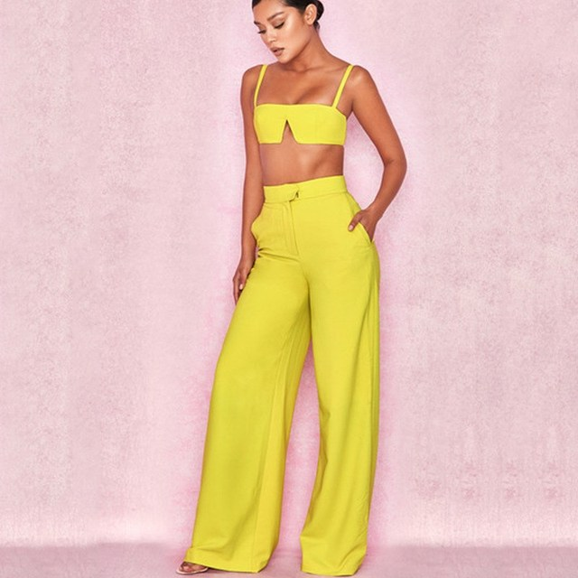 2019 Strapless High Waist Sexy Crop Top And Pants Set Strap Summer Two Piece Set Casual Backless Women Tracksuit