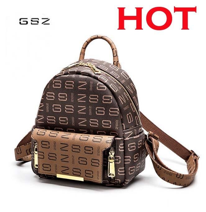 все цены на GSZ fashion 2018 new leather baby bag shoulder bag wild backpack print shoulder bag free shipping онлайн