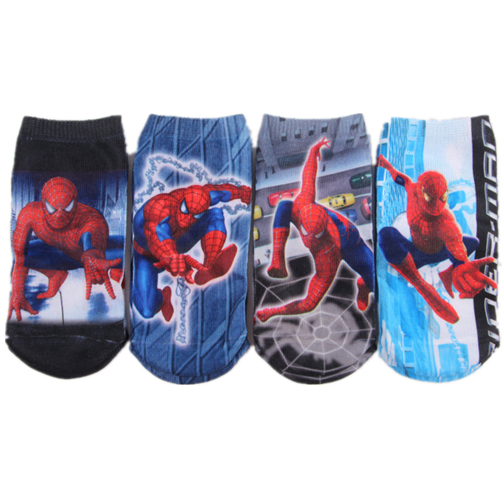 Children Hero Avenger <font><b>Spiderman</b></font> Elsa Character Sneakers Kids Cotton Footsocks <font><b>Boys</b></font> <font><b>Low</b></font> <font><b>Cut</b></font> Baby Girls Boat <font><b>Socks</b></font> Ankle 4Pairs