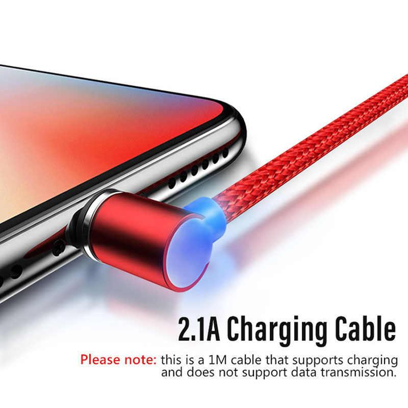 90 gradi di Ricarica Veloce Cavo magnetica Per iphone/Micro USB/Tipo C Spina del Caricatore Per iphone 678x per samsuny s9 per xiaomi redmi