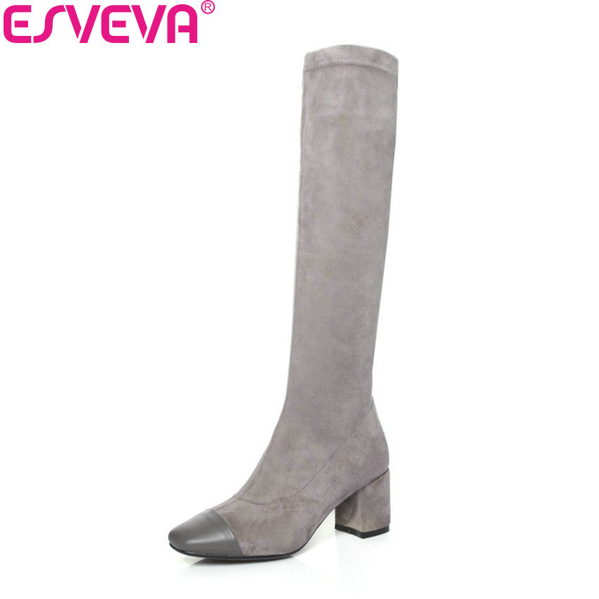 ESVEVA 2019 Women Shoes Square High Heels Square Toe Winter Boots Zipper Knee High Boots Fashion Autumn Shoes Woman Size 34-39 women vintage square toe real leather half boots fashion woman transparent square heels shoes heeled footwear size 34 39 n00139