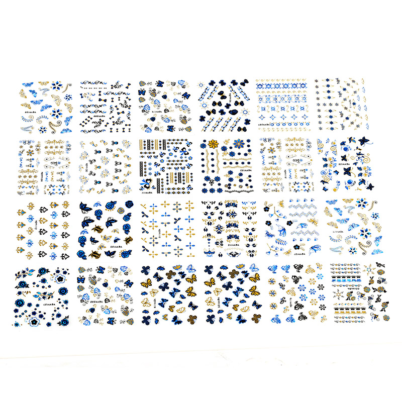 Blueness Bronzing Blue Gold Foils Transfer Nail Art Sticker Decals 3D Floral Design Beauty Stamping Stickers For Nails JH129 1pcs water nail art transfer nail sticker water decals beauty flowers nail design manicure stickers for nails decorations tools