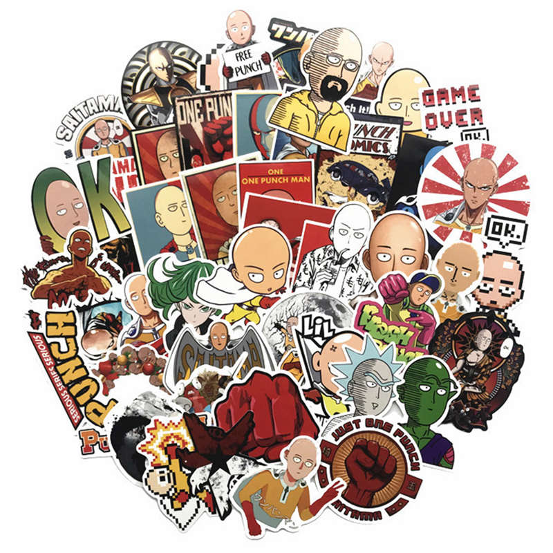50Pcs/Set Japan Anime ONE PUNCH MAN Saitama Series Stickers For Notebook PC Skateboard Bicycle Car Moto DIY Waterproof Sticker(China)