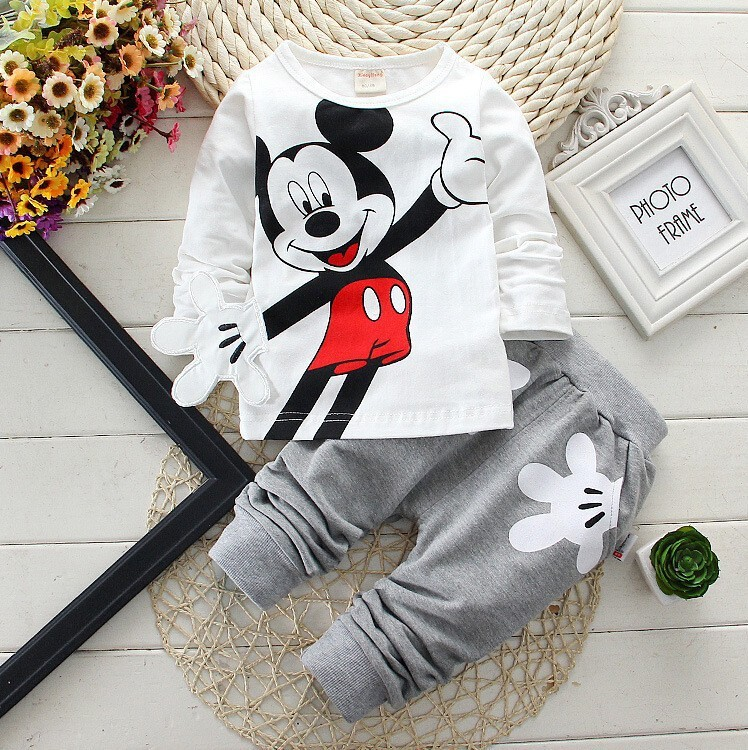 Boys Girls Clothing Sets Children Cotton Sport Suit Kids Mickey Minnie Cartoon T-shirt And Pants Set Baby Kids Fashion Clothes цена