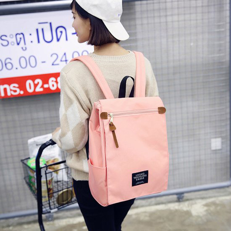 2018 New Backpack,Japan Ring Style Women Backpack,Canvas Bag,Pure Color Square Best Travel Leisure,Backpack Female,Teenage Girl punk style pure color hollow out ring for women
