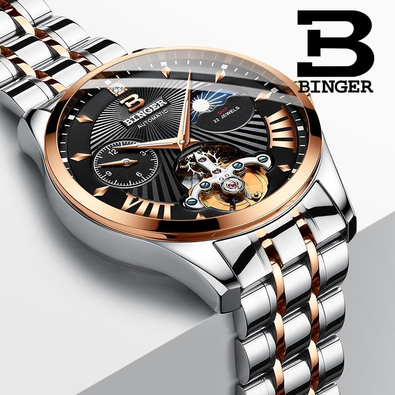 Switzerland Mechanical Watch Men Binger Business Men Watches Skeleton Wrist Automatic Men Watch Waterproof Relogio Masculino