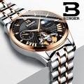 Швейцарские механические часы для мужчин Бингер Бизнес Мужские часы Скелет наручные автоматические мужские часы водонепроницаемые Relogio ...