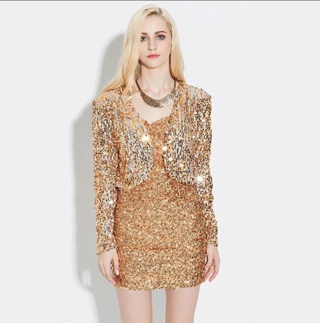 Agoky Womens Shiny Metallic Long Sleeve Open Front Holographic Shrug Bolero Short Crop Top Clubwear