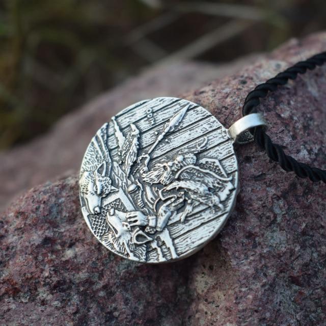 God Odin With Ravens And Wolf Pendant Necklaces Norse Odin Viking Jewelry Slavic Pendant Sanlan Original Jewelry 2