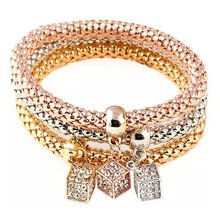 1 set 3pcs fashion Crystal Square Cubic Rhinestone Pendant Bracelet Elastic Chain Casual Bangle Jewelry For