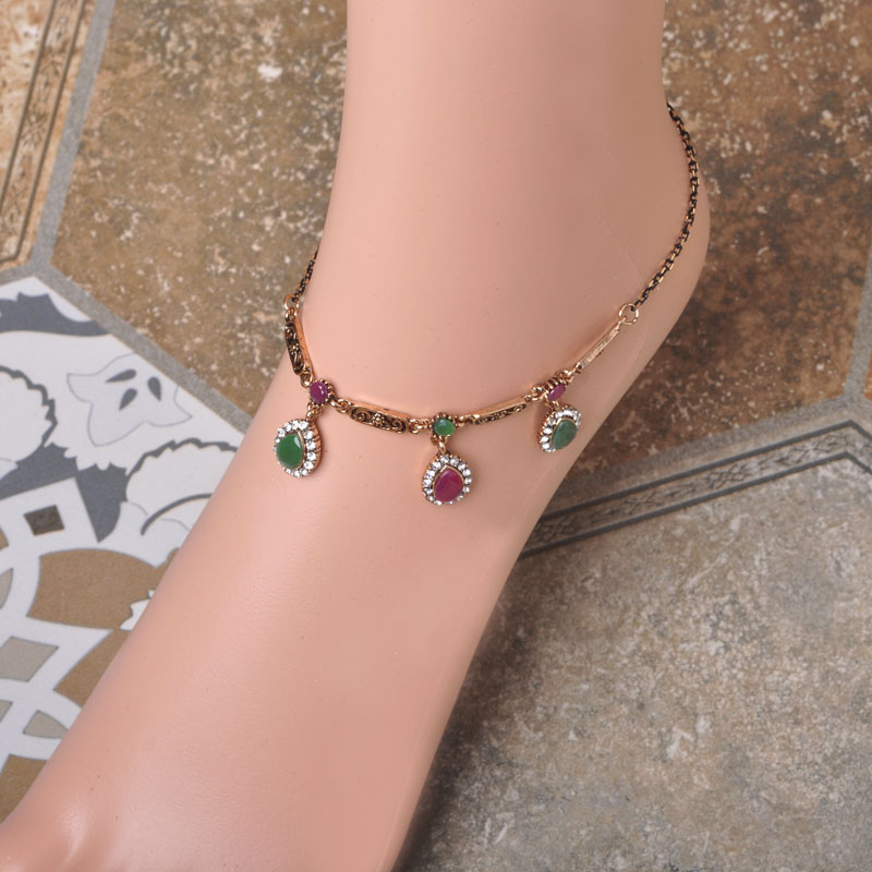 Fashion New Turkish Jewelry Women Foot Accessories Flower Ankle Bracelet Cheville Barefoot Sandals Pearl Jewelry Foot