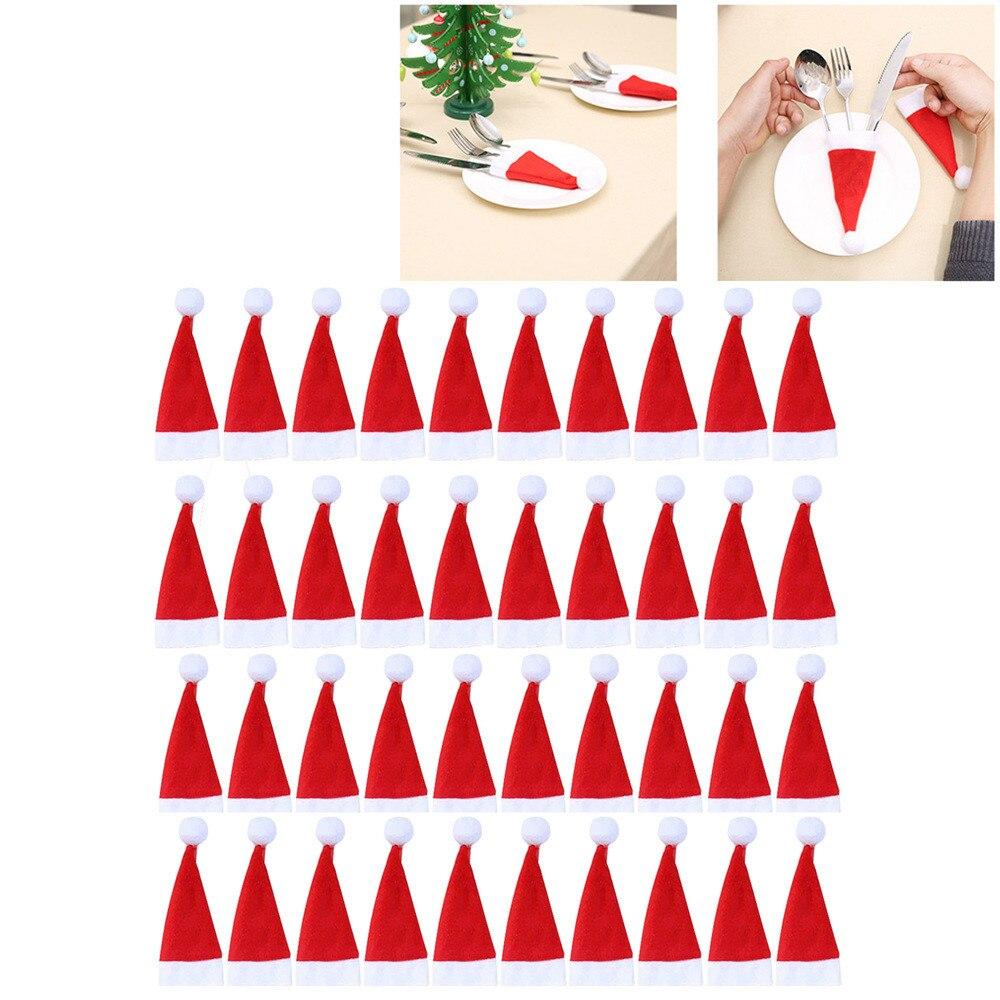 40 Uds. De la vajilla decorativa de Navidad herramienta de almacenamiento de la vajilla del sombrero de Navidad cubierta de la vajilla Kerstmuts Gorro Navidad Santa sombrero Bonnet Noel