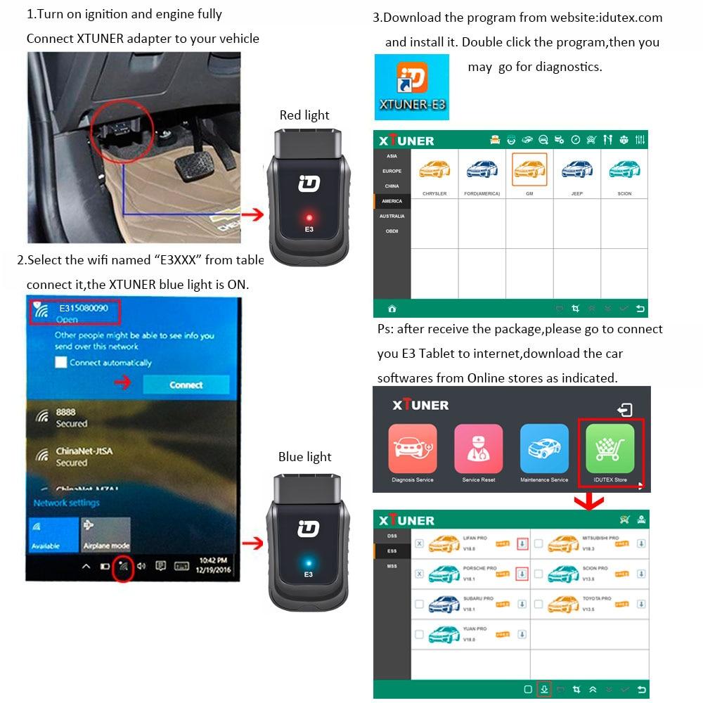 Véritable XTUNER E3 Wifi système complet outil de Diagnostic de voiture support de Scanner automobile SRS, EPB, ESP, ESS pour les voitures d'amérique, d'europe et d'asie - 5