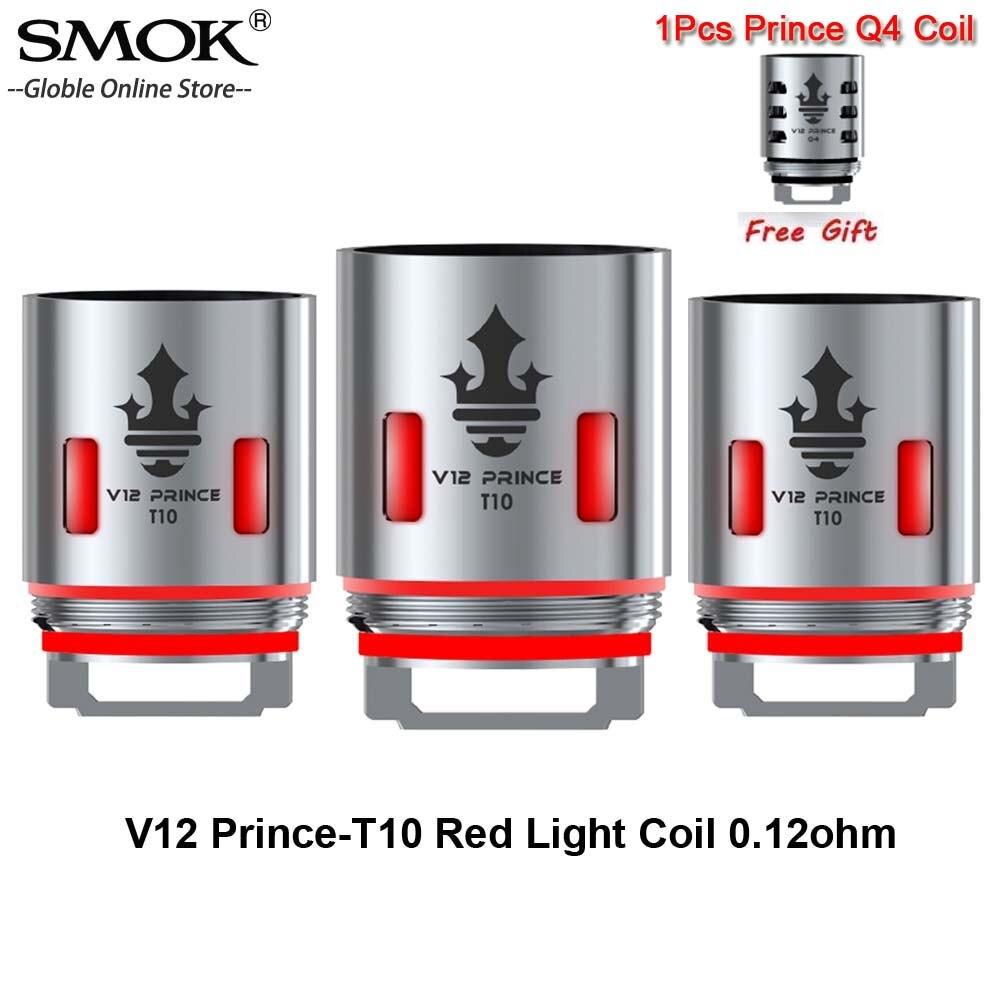 3pcs/lot SMOK TFV12 Prince-T10 Red Light V12 Prince T10 Coil 0.12ohm Vape Head Core For TFV12 Prince Tank Resa Prince/Mag Kit
