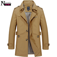 Fashion Men Upscale Winter Slim Fit Casual Trench Coat Male Pure Color Overcoat Cotton Long Jackets