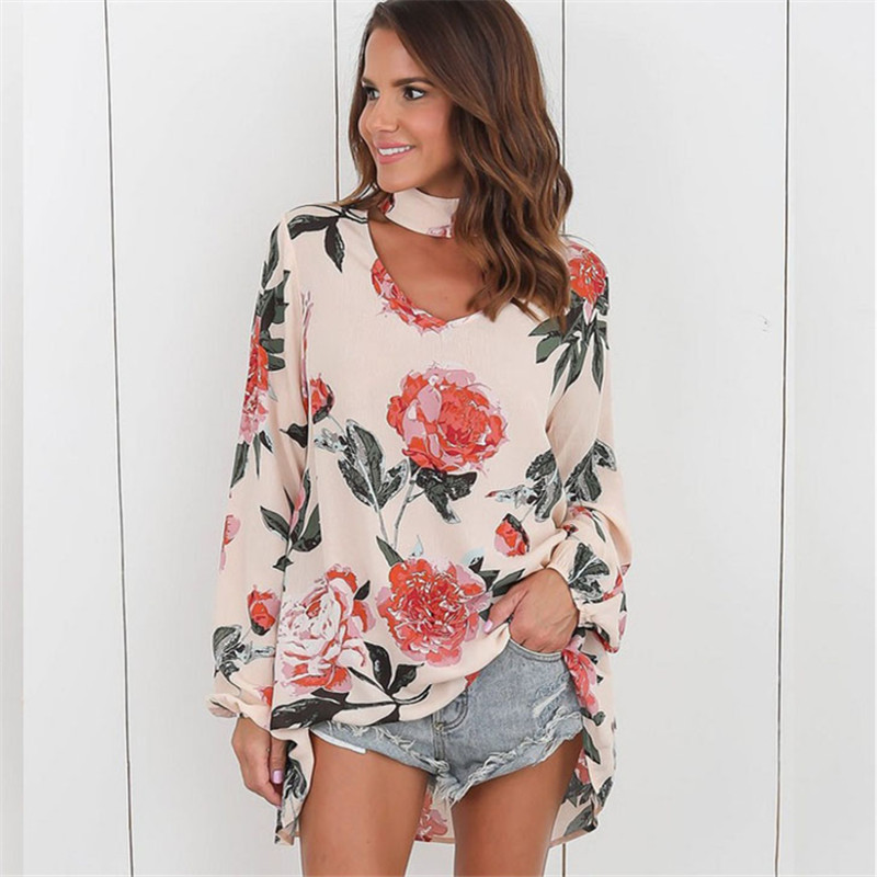 Chiffon Blouse 2017 Fashion Women Shirts Floral Print V Neck Long Sleeve Blouse Casual Women ...