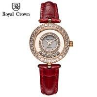 Mały damski zegarek japonia kwarcowy godziny zegar moda sukienka bransoletka skóra luksusowe dżetów dziewczyny Bling prezent królewska korona w Zegarki damskie od Zegarki na