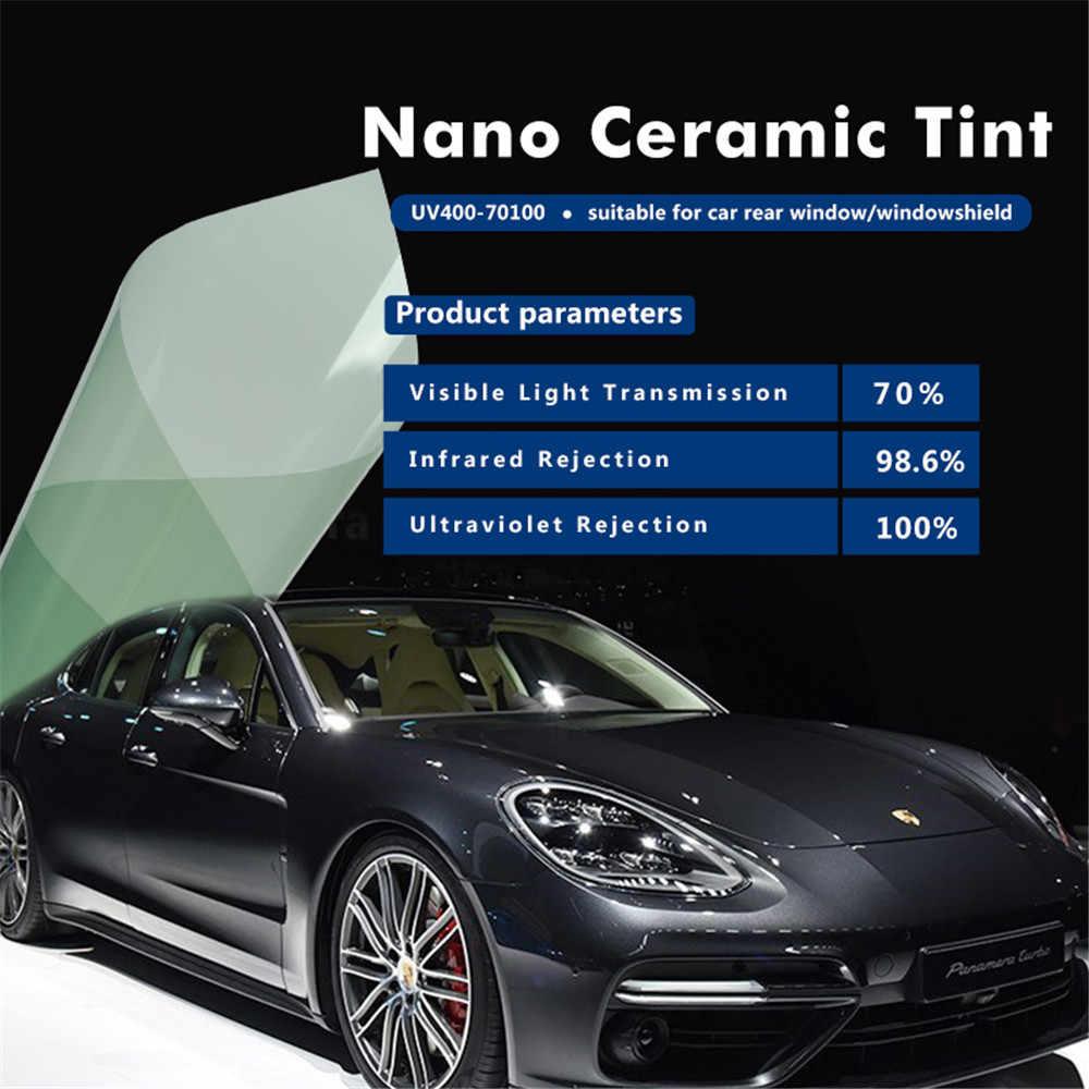 เสื้อกันหนาว SUNICE 50 ซม.x 700 ซม.รถยนต์แสงสีเขียว UV400 เซรามิคฟิล์ม Sun ป้องกันแผ่นฟิล์มสำหรับกระจกรถยนต์กระจกรถยนต์สติกเกอร์